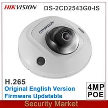 Oryginalny DS 2CD2543G0 IS hikvision wymień DS 2CD2542FWD IS Audio we/wy 4MP H265 POE CCTV IP WDR IR Mini kamera sieciowa kopułkowa