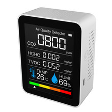 Co2 novo medidor de co2 sensor detector qualidade do ar monitor analisador ar com display umidade temperatura 5000ppm faixa medição