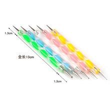 5 pcs /lot Manicure tools supplies double-headed nail diamond pen 5 set spiral rod dian hua bi fluoresent  nail tools dot set