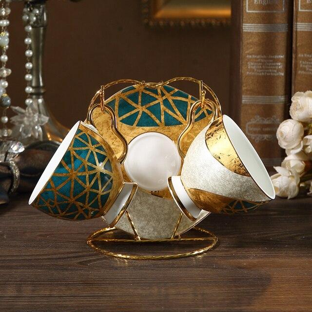 Europe high-grade bone USA coffee cup set Gold Inlay Porcelain Tea Set Afternoon tea Cup Saucers Pot Sugar Bowl Teaware