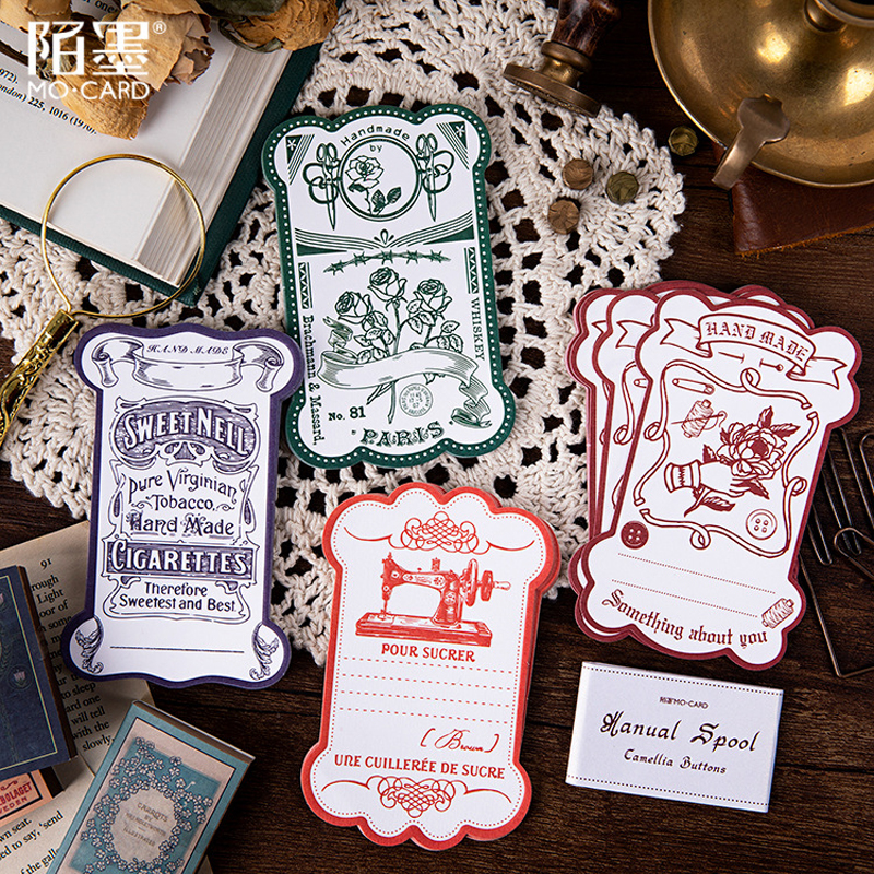 20P Vintage Journal Memo Pad Card Note Flower/plant/sewing Machine Office Decoration Planner To Do List Cute Stationery Supplies