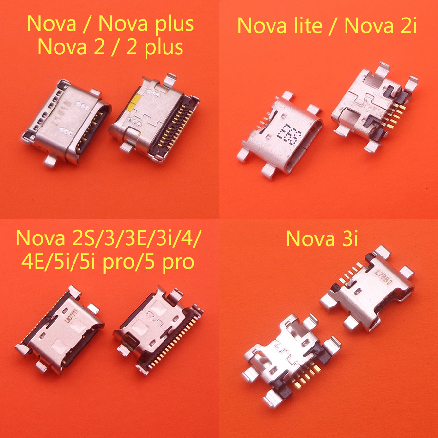 50pcs For Huawei Nova 2 2i 2s 3 3i 3e 4 4e 5 5i Pro Plus Lite Charger Connector Parts Replacement Repair USB Dock Charging Port