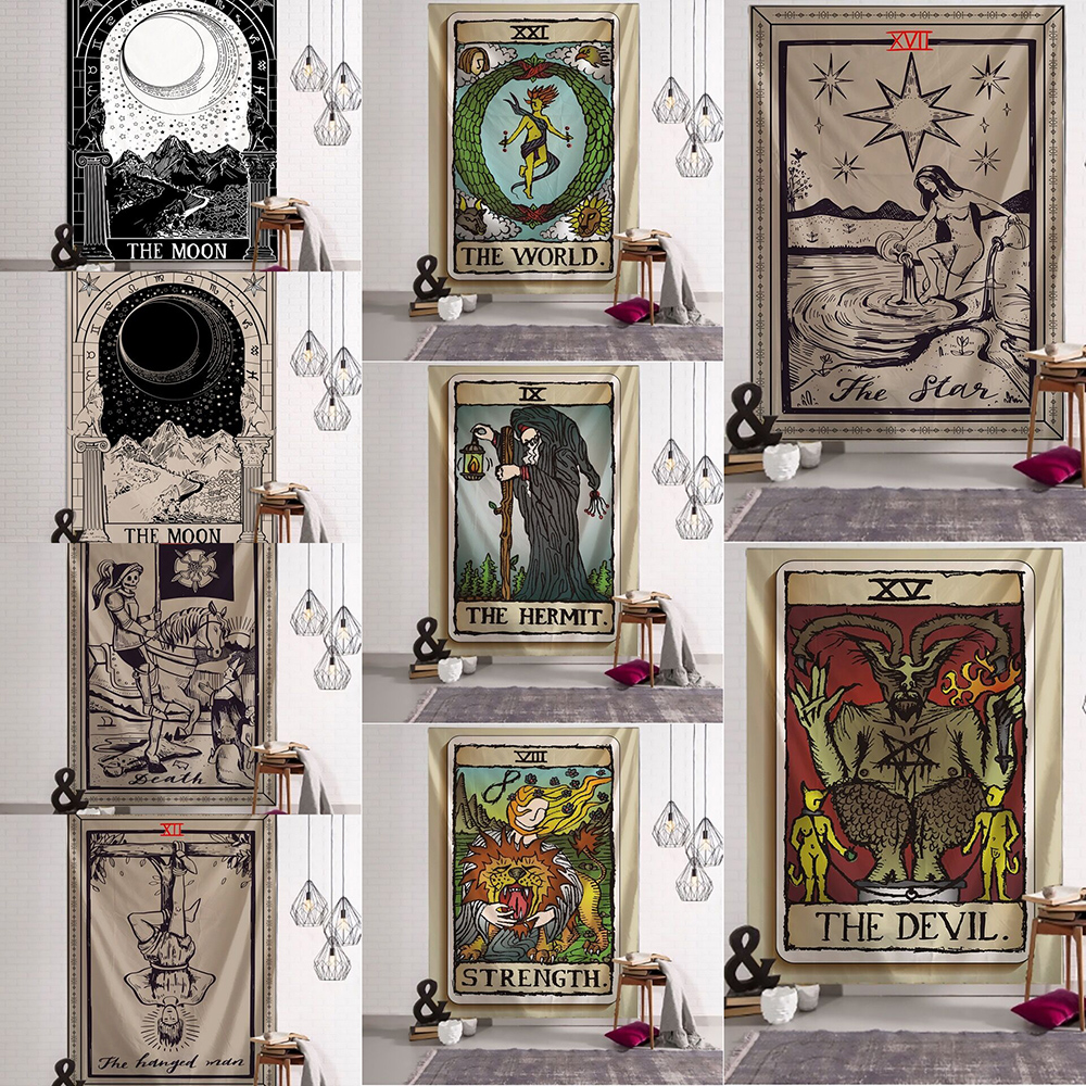 India Witchcraft Tarot Tapestry Wall Hanging Sun Moon Wall Tapestry Wall Carpet Psychedelic Tapiz Witchcraft Wall Cloth Tapestry
