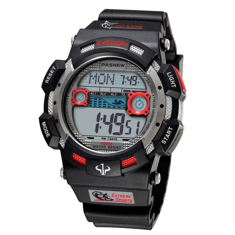 PASNEW luxury brand men's digital watch, men's fashion sports watch, <font><b>100M</b></font> waterproof diving watch, electronic watch image