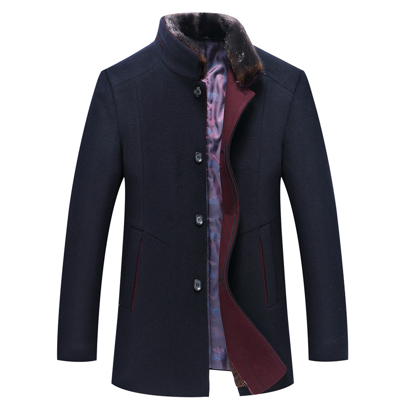 Men's Coat Woolen-Jacket Thick Casual Middle-Long Winter High-Quality Man Fur-Collar