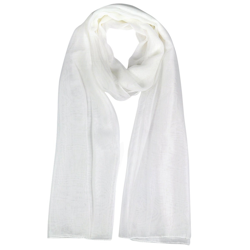 Fashion Ladies White Soft Long Large Chiffon Scarf Neck Head Wrap
