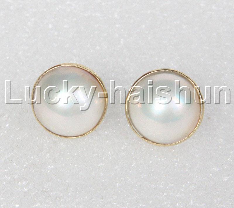 AAA naturel 16mm réel blanc mer du sud Mabe perles perles boucles d'oreilles 14K or poste j12363