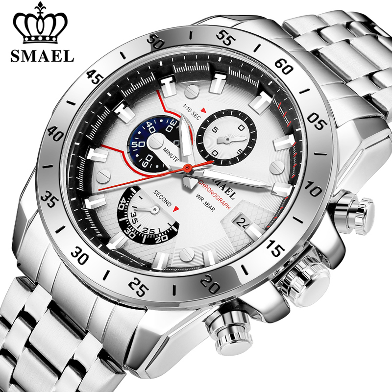 SMAEL Fashion Mens Watches Top Luxury Brand Business Stainless Steel Quartz Watch Men Casual Waterproof Sport Date Chronograph