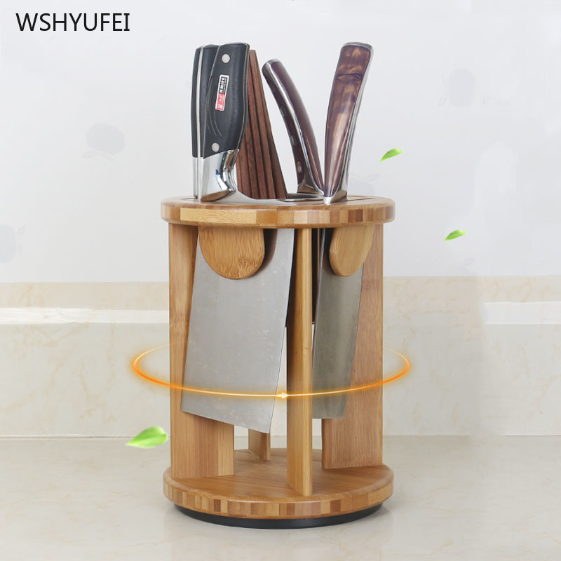 Modern Simple Rotating Kitchen Knife Storage Rack Multi-function Tool Holder Knife Holder Household Bamboo Cutter Supplies