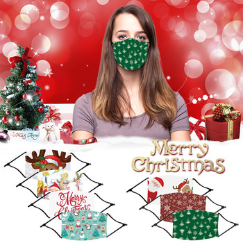 10 Styles Face Mask Christmas Print Adult Child Breathable Multi-Purpose Reusable Face Mouth Cover Facemask With 1 PC Filter