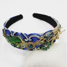 Golden Wedding Headband Green Tiara Gold Leaves Bridal Hair Accessories Blue Ornaments Crystal Fashion Jewelry 2019