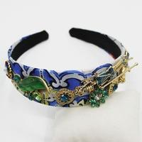 Golden Wedding Headband Green Tiara Gold Leaves Bridal Hair Accessories Blue Hair Ornaments Tiara Crystal Fashion Jewelry 2019