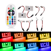 2X T10 5050 12SMD 15Smd 24smd Remote Control Rgb Car Led panel interior Auto lights Reading Dome Festoon BA9S Adapter DC 12V New new light 6pcss lot cob led 12v 24v 15smd round panel light white with t10 festoon adapters interior dome lamps