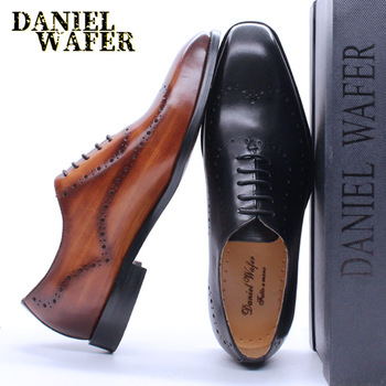 LUXURY ITALIAN OXFORDS GENUINE LEATHER SHOES BROGUE FASHION WING TIP BLACK BROWN LACE UP WEDDING OFFICE DRESS MEN FORMAL SHOES