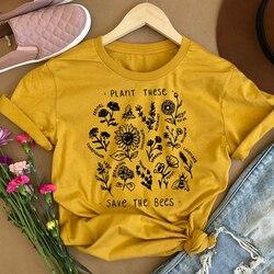 Camiseta de algodão feminina para salvar as abelhas, blusa de algodão com estas flores, gola redonda, gola redonda, drop shipping