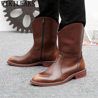 cowboy boots mens chukka boots men brogues Knight elevator shoes for men boots genuine leather designer shoes chaussure homme