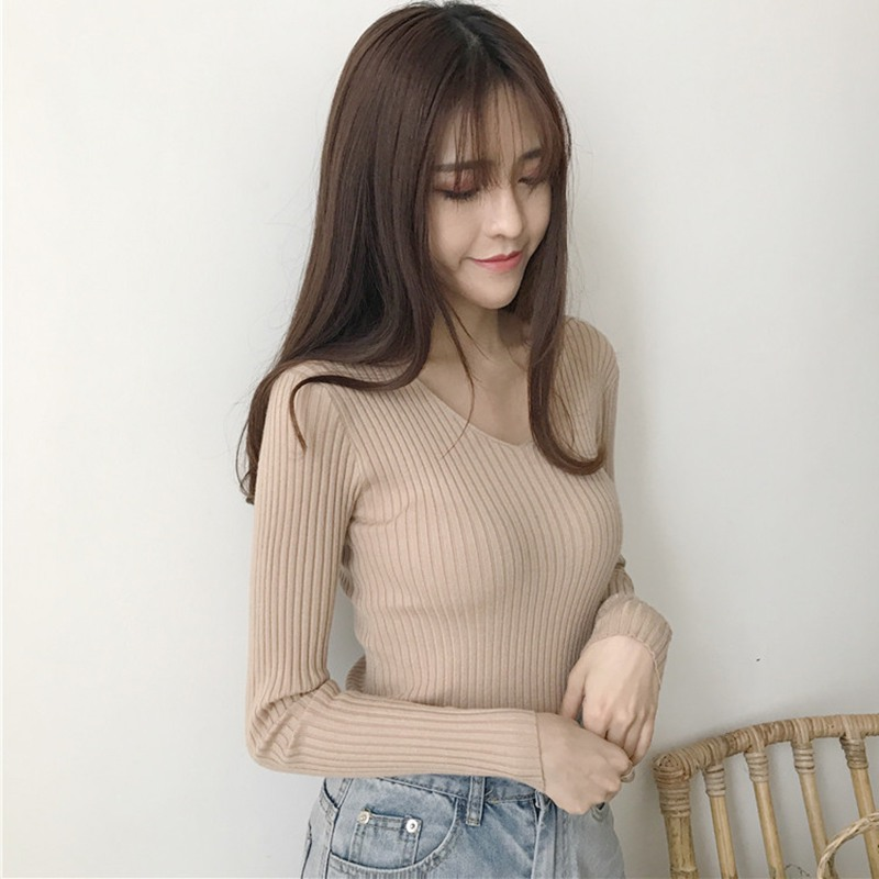 Z 2019 Slim Fit Women Summer New Style Fashion Design Casual V-Neck Sweaters Solid Winter Cardigan Wear Long Sleeve Sweat Shirts 2