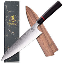 KATSU Kitchen Knife Japanese forged Damascus Steel Chef 8-inch Santoku Knives Handcrafted Octagonal Wood Handle knife Chef