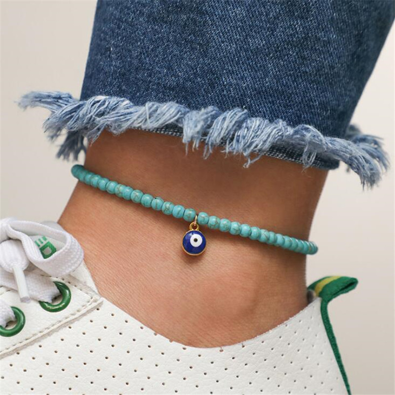 Bohemian Turkish Eye Charm Anklets for Women Foot Jewelry Boho Vintage Ethnic Handmade Blue Green Beads Chain Ankle Bracelets