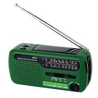 Portable FM Radio DE13 FM MW SW Crank Dynamo Hand cranked Solar Emergency Radio World Receiver with Flashlight V1