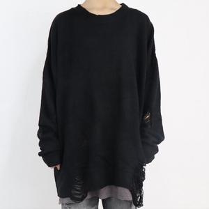 Image 2 - Spring autumn women fashion hip hop punk sweater with ripped hole men Korean style oversized jumpers vintage casual pullover