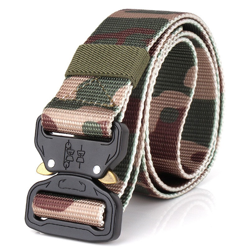 Tactical Military Men Belt Outdoor Army Training Camouflage Canvas Waistband Metal Buckle Belts for Men