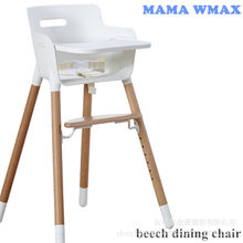 Plastic Dining Chair For Children Baby Solid Wood Beech Dining Chair Baby Multi-functional Adjustable High Feet Din(China)