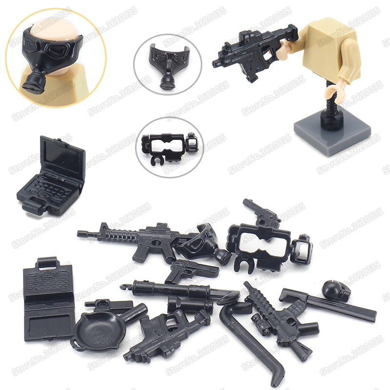 Legoinglys Military Building Block Weapons World War 2 Assembly Special Forces PUBG Figures Equipped Army Model Educational Toys