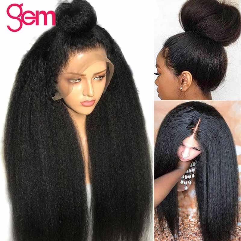 Peluca recta rizada 13x4 Peluca delantera de encaje de cabello humano - Cabello humano (negro) - foto 2