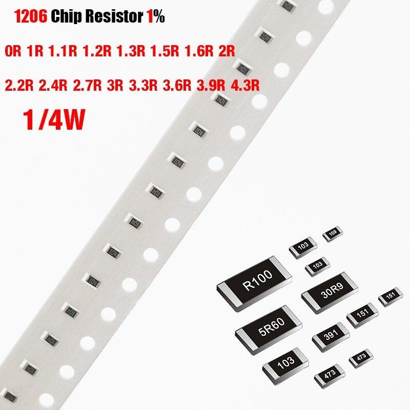 200 PCS/lot Puce résistance SMD 1206 1% 0R 1R 1.1R 1.2R 1.3R 1.5R 1.6R 2R 2.2R 2.4R 2.7R 3R 3.3R 3.6R 3.9R 4.3R Ohms 1/4W