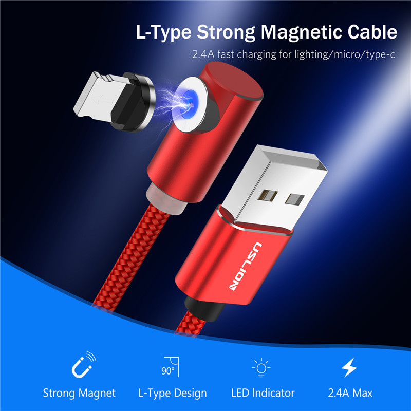 USLION 90 Degree Fast Magnetic USB Charging Cable Micro USB Type C For iPhone Samsung Huawei Magnet Phone Cable Charger Cord