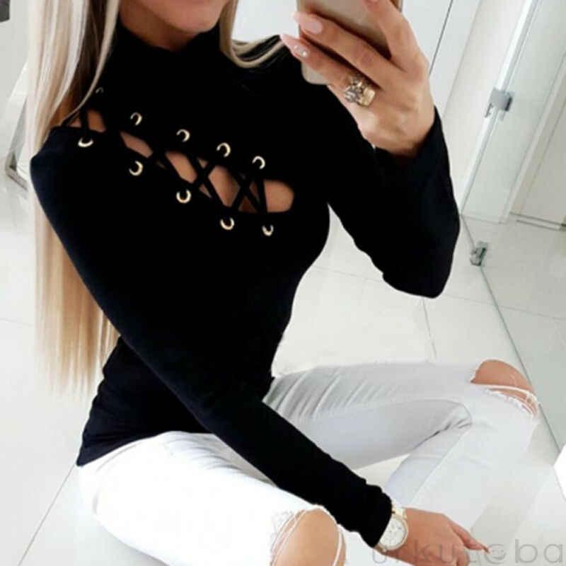 Wanita Sexy Hollow Keluar Lengan Lengan Lengan Lengan Panjang Kasual Leher Bulat T-shirt Black Atasan