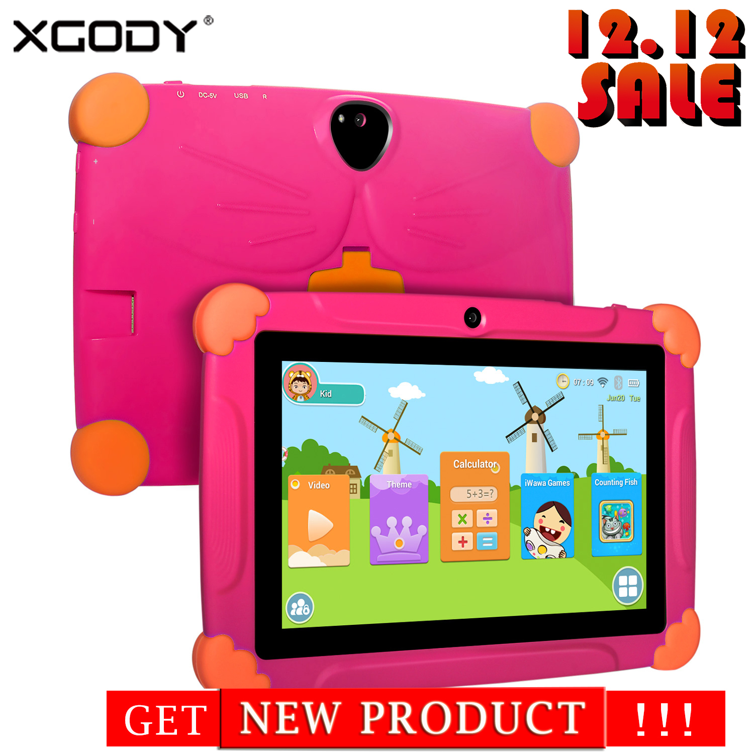 XGODY T703 Children's Christmas Gift Tablet 7 Inch  Screen Android 8.10 Version Fashion Portable Tablet 1G+16G Touch Tablet