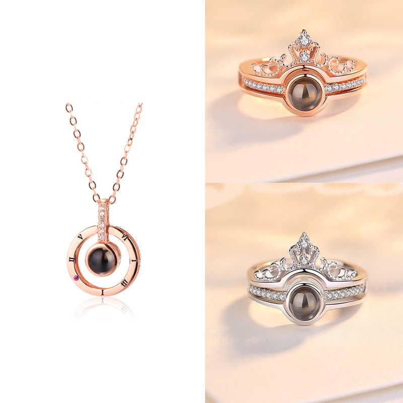 Dropshipping rosa ouro & prata 100 idiomas eu te amo anel de projeção e pingente romântico amor memória anel de casamento jóias