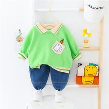 HYLKIDHUOSE 2020 wiosna dziewczyny zestawy ubrań dla chłopców maluch niemowląt z długim rękawem Cute Cartoon T Shirt Jeans Casual zestawy ubrań dla niemowląt tanie tanio COTTON Moda Skręcić w dół kołnierz Swetry Pełna REGULAR Pasuje prawda na wymiar weź swój normalny rozmiar Suknem