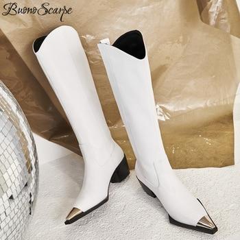 Buono Scarpe Metal Square Toe Knee High Boots Genuine Leather Brand Design Fashion High Heel Botas Mujer Chunky Heel Zapatos Hot