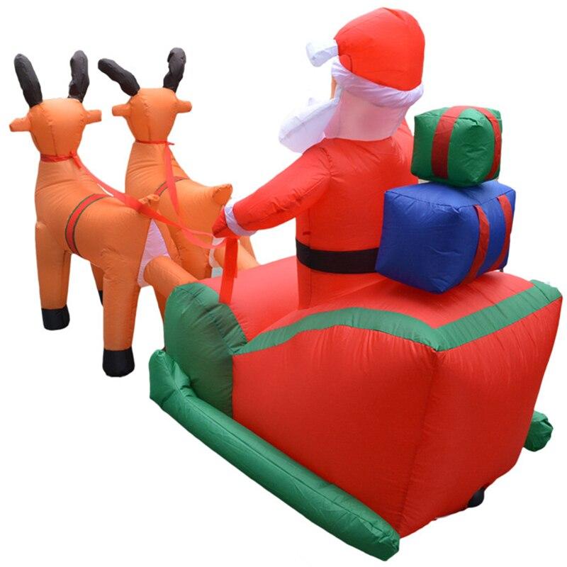 EU Plug Kerst Opblaasbare Herten Winkelwagen Kerst Dubbele Herten Winkelwagen Kerstman Kerst Dress Up Decoraties Welkom Rekwisieten - 5