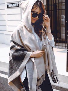Women Sweater Scarf Hooded Cashmere American-Style European Cloak Hats Shawl Spring Twill