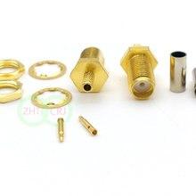 100 шт. позолоченный RP SMA женский обжимной разъем для коаксиального RG316 RG174 кабеля