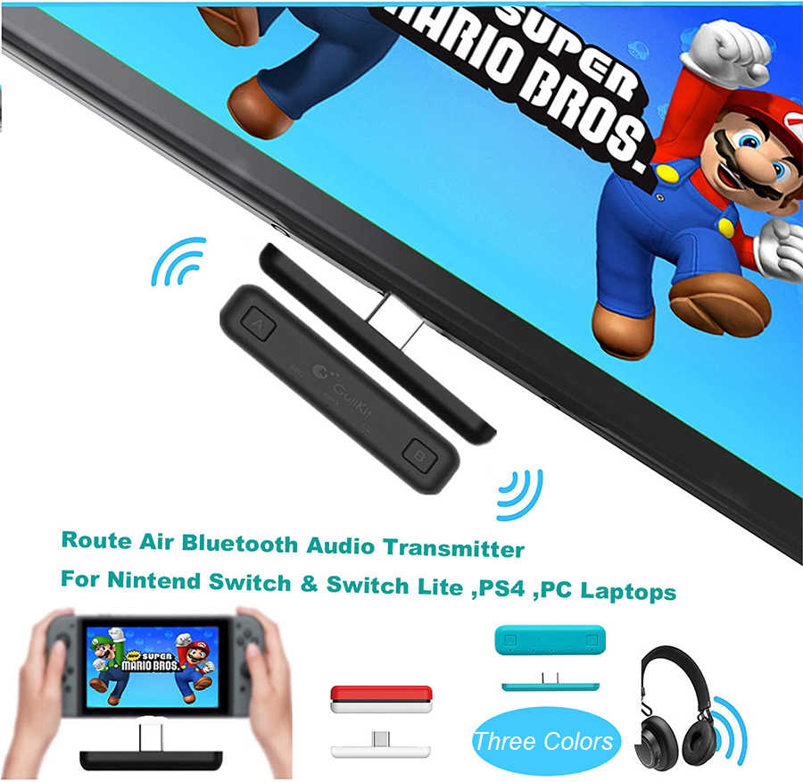 Rute Udara Switch Adaptor Bluetooth Wireless Audio Transmitter W/Apt X Rendah Latensi untuk Nintend Switch & Switch Lite PS4 pc