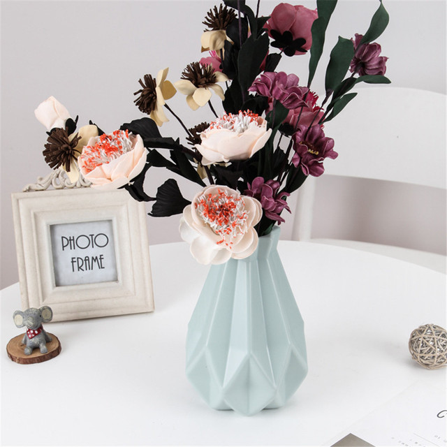 Plastic Flower Vase Nordic Style Decoration Home Vase Flower Pot Decoration Nordic Style Flower Basket White Green Pink 2