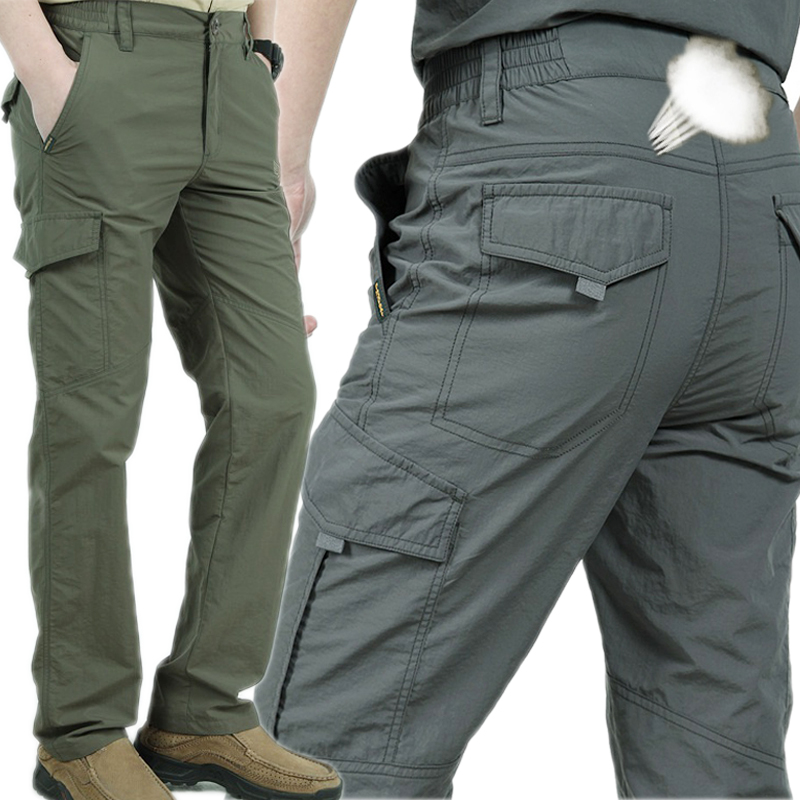 Multi Pockets Cargo Pants Men Work Breathable Quick Dry Army Men Pants Casual Summer Thin Loose Military Tactical Trousers Male