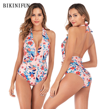 New Sexy Floral Print Swimsuit Women One Piece Suit Deep V Bathing Suit S-L Backless Halter Swimwear Padded Monokini Beachwear print floral one piece swimsuit summer dress padded widen shoulder strap sexy halter plus m 4xl skirted bathing suit