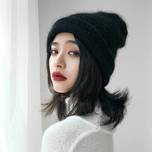 Winter Beanie Hats Women Solid Black Wool Blending Knitted Skullies Casual Caps for Girls Warm Gorros Thicken Bonnet Beanie Hat цена в Москве и Питере