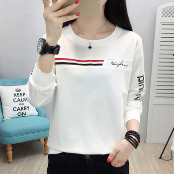 shintimes 2019 Autumn Plus Size T Shirt Women Casual Letter Print Tee Shirt Femme Tops Cotton T-Shirt Female Long Sleeve Clothes long sleeve plus size palm print asymmetrical t shirt