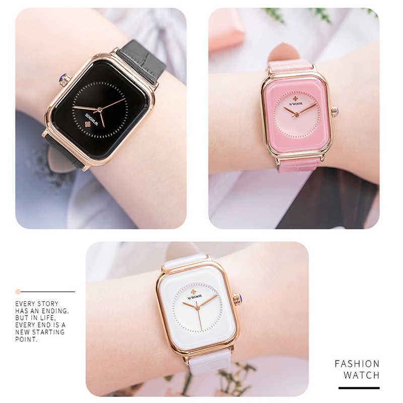 WWOOR นาฬิกาผู้หญิงแบรนด์หรูผู้หญิงนาฬิกาสี่เหลี่ยมผืนผ้านาฬิกาข้อมือควอตซ์ Lady ของขวัญนาฬิกาผู้หญิง montre femme