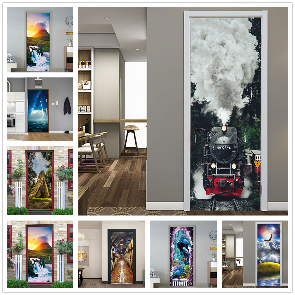 Sticker On The Door Self Adhesive Wallpaper Diy Abstract Landscape Print Picture Wall Art Mural Wardrobe Renovation Home Decor
