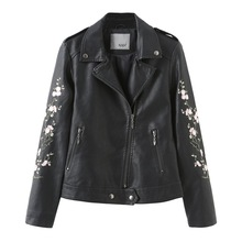 SWYIVY Classic Motorcycle PU Leather Women Jacket Short Faux Jackets Female Black Embroidery Zipper Outerwear