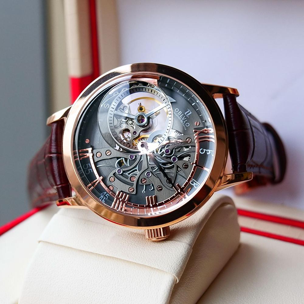 Oblvlo relógios casuais masculino esqueleto dial calfskin pulseira de couro rosa ouro relógios automáticos para masculino montre homme vm 1