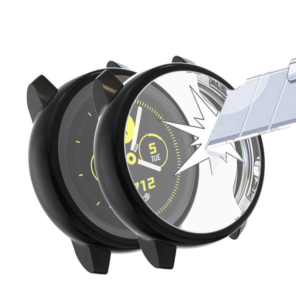 جالاكسي ساعة اكتيف حقيبة لهاتف سامسونج جالاكسي ساعة اكتيف 40 مللي متر SM-R500 واقي مصد السيارة HD تغطية كاملة شاشة حماية